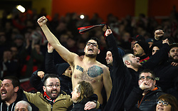 AC Milan fans in the stands show their support