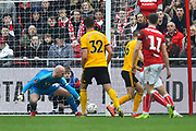 John Ruddy (21) of Wolverhampton Wanderers makes a save during the The FA Cup 5th round match between Bristol City and Wolverhampton Wanderers at Ashton Gate, Bristol, England on 17 February 2019.