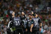 The Black Caps celebrate the wicket of Lasith Malinga of Sri Lanka. Twenty20 cricket match, New Zealand Black Caps v Sri Lanka at Eden Park, Auckland, New Zealand. 11 January 2019 © Copyright Photo: Anthony Au-Yeung / www.photosport.nz