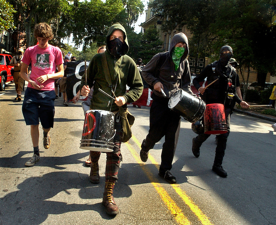 Self-proclaimed anarchists march through the streets of Savannah, Ga., in protest of the G-8 Summit being held in nearby St. Simons Island.