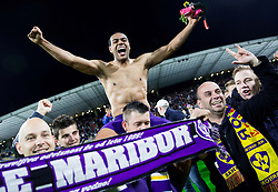 Marcos Tavares #9 of Maribor with his fans celebrate after winning during football match between NK Maribor and ND Triglav in 34th Round of Prva liga Telekom Slovenije 2013/14, on May 13, 2014 in Stadium Ljudski vrt, Maribor, Slovenia. NK Maribor became Slovenian National Champion 2014. Photo by Vid Ponikvar / Sportida