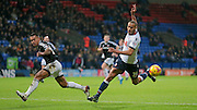 Darren Pratley (C) (Bolton) attacks the box again, wrong footing Nico Yennaris (Brentford) during the Sky Bet Championship match between Bolton Wanderers and Brentford at the Macron Stadium, Bolton, England on 30 November 2015. Photo by Mark P Doherty.