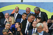 Prince William shares a joke with Greg Dyke and David Gill during the Euro 2016 Group B match between Slovakia and England at Stade Geoffroy Guichard, Saint-Etienne, France on 20 June 2016. Photo by Phil Duncan.