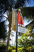 Hawaiian heritage sign at Hulihee Palace, Kailua-Kona, Hawaii, USA