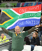 South African fan prior to kick off during the Rugby World Cup Bronze Final match between South Africa and Argentina at the Queen Elizabeth II Olympic Park, London, United Kingdom on 30 October 2015. Photo by Matthew Redman.