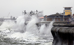 © under license to London News Pictures.  04/02/2011 As a large storm hits the country the coast of Portsmouth is lashed sending waves over the sea walls. Picture credit should read: Bryan Moffat/London News Pictures