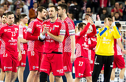 Igor Vori of Croatia and other players of Croatia after the handball match between National teams of Croatia and France on Day 7 in Main Round of Men's EHF EURO 2018, on January 24, 2018 in Arena Zagreb, Zagreb, Croatia.  Photo by Vid Ponikvar / Sportida