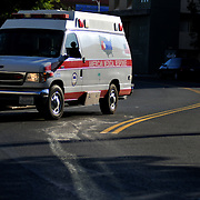 Ambulances come and go from Scripps Mercy Hospital in San Diego.