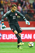 Warsaw, Poland - 2017 September 04: Goalkeeper Lukasz Fabianski from Poland controls the ball during soccer match Poland v Kazakhstan - FIFA 2018 World Cup Qualifier at PGE National Stadium on September 04, 2017 in Warsaw, Poland.<br /> <br /> Adam Nurkiewicz declares that he has no rights to the image of people at the photographs of his authorship.<br /> <br /> Picture also available in RAW (NEF) or TIFF format on special request.<br /> <br /> Any editorial, commercial or promotional use requires written permission from the author of image.<br /> <br /> Mandatory credit:<br /> Photo by © Adam Nurkiewicz / Mediasport