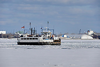 Toronto Island ferry breaks through ice, Lake Ontario, Toronto , Ontario, Canada