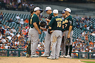 May 31, 2010: Oakland Athletics'Manager Bob Geren #17 take the ball from Oakland Athletics' Trevor Cahill (53) during the MLB baseball game between the Oakland Athletics and Detroit Tigers at  Comerica Park in Detroit, Michigan. Oakland defeated Detroit 4-1.