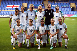 England team group: (left-right) Front Row - Jade Moore, Fran Kirby, Nikita Parris, Jordan Nobbs and Toni Duggan. Back Row - Demi Stokes, Lucy Bronze, Millie Bright, Steph Houghton, Siobhan Chamberlain and Jodie Taylor during the FIFA 2019 Women's World Cup qualifying match at Prenton Park, Birkenhead.