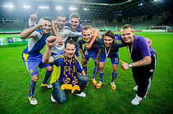 Fan Matjaz Muster celebrates with Aleksander Rajcevic of Maribor, Mitja Viler of Maribor, Jovan Vidovic of Maribor, Dalibor Volas of Maribor, Etien Velikonja of Maribor and Martin Milec of Maribor after the football match between NK Celje and NK Maribor in final of Hervis Cup 2011/12, on May 23, 2012 in SRC Stozice, Ljubljana, Slovenia. Maribor defeated Celje after penalty shots and became Slovenian Cup Champion. (Photo by Vid Ponikvar / Sportida.com)