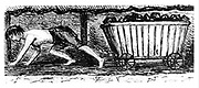 Boy 'putter' drawing a carriage containing 2 1/4 cwt of coal along a 24 inch high seam, Halifax, Yorkshire, England. From Matthias Dunn 'A Treatise on the Winning and Working of Collieries', Newcastle-upon-Tyne, 1848