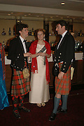 DAVID CRICHTON, CAROLINE RATCLIFF AND THEODORE BELL. The Royal Caledonian charity Ball 2006.Grosvenor House. London. 5 May 2006. . ONE TIME USE ONLY - DO NOT ARCHIVE  © Copyright Photograph by Dafydd Jones 66 Stockwell Park Rd. London SW9 0DA Tel 020 7733 0108 www.dafjones.com