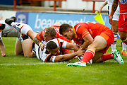 Bradford Bulls winger Omari Caro (18)  scoring a try to make the score 10-16 during the Kingstone Press Championship match between Sheffield Eagles and Bradford Bulls at, The Beaumont Legal Stadium, Wakefield, United Kingdom on 3 September 2017. Photo by Simon Davies.