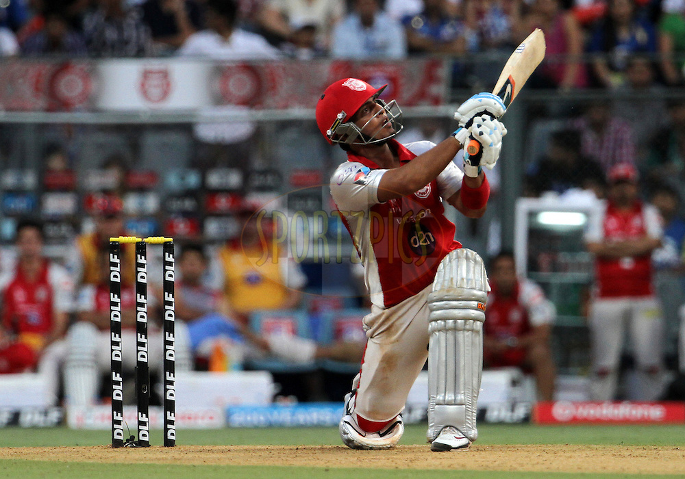 Kings XI Punjab player Mandeep Singh plays a shot during match 28 of the Indian Premier League ( IPL) 2012  between The Mumbai Indians and the Kings X1 Punjab held at the Wankhede Stadium in Mumbai on the 22nd April 2012..Photo by: Vipin Pawar/IPL/SPORTZPICS