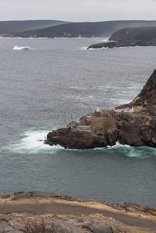 Fort Amherst and distant iceberg from atop Signal Hill