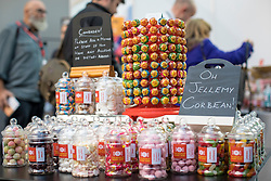 © Licensed to London News Pictures. 24/09/2018. Liverpool, UK. A sign reads 'Oh Jellemy Corbean!' at the Socialist Sweet Shop stall at the Labour Party Conference 2018. Photo credit: Rob Pinney/LNP