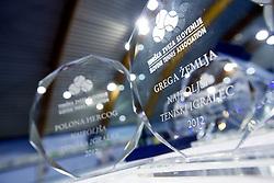 Trophies of Polona Hercog and Grega Zemlja at Slovenian Tennis personality of the year 2012 annual awards presented Slovene Tennis Association TZS, on December 22, 2011 in BTC Millennium Arena, Ljubljana, Slovenia. (Photo By Vid Ponikvar / Sportida.com)