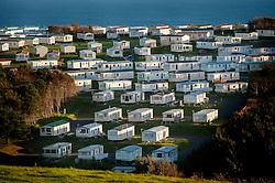 Holiday home static caravans near Lulworth Cove on the Jurassic Coast, Dorset, England, UK.