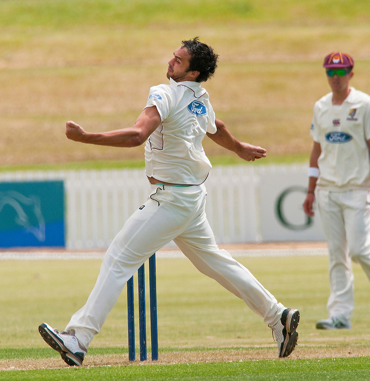 Northern Districts James Baker bowling against Auckland in the Plunket Shield cricket match at Cobham Oval, Whangarei, New Zealand, Monday November 07, 2011. Credit:SNPA / Malcolm Pullman