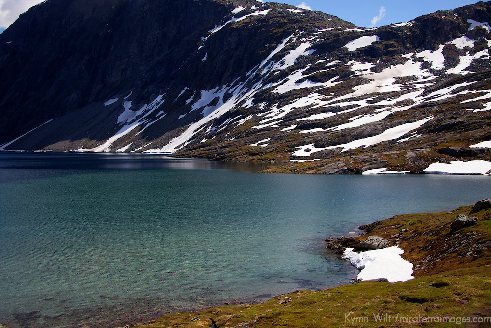 Europe, Norway, Geiranger.  Djupvatnet Lake of Dalsnibba Plateau in Geiranger, a UNESCO World heritage Site.
