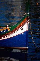 MALTA VALETTA JUL00 - Detail of a Daisa with eyes in the bow, anchored in the bay of Valtetta.....jre/Photo by Jiri Rezac....© Jiri Rezac 2000....Tel:   +44 (0) 7050 110 417..Email: info@jirirezac.com..Web:   www.jirirezac.com