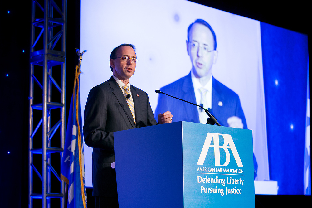 This is the 2018 American Bar Association Annual Meeting. The Deputy Attorney General of the United States Rod Rosenstein speaks to the group. photos by Kathy Anderson