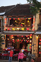 Thanh Phuong restaurant at twilight on Bach Dang Street in the old town of Hoi An, Vietnam