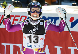 """Loeseth Nina (NOR) celebrates in finish area during FIS Alpine Ski World Cup 2014/15 5th Ladies' Slalom race named """"Snow Queen Trophy 2015"""", on January 4, 2015 in Course Crveni Spust at Sljeme hill, Zagreb, Croatia.  Photo by Vid Ponikvar / Sportida"""