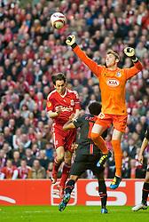 29.04.2010, Anfield, Liverpool, ENG, UEFA EL, Liverpool FC vs Atletico Madrid im Bild Club Atletico de Madrid's Fran Merida Perez klärt nach einem Corner