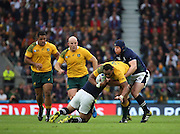 Scotland seemed to be winning every tackle in the first half during the Rugby World Cup Quarter Final match between Australia and Scotland at Twickenham, Richmond, United Kingdom on 18 October 2015. Photo by Matthew Redman.