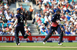 England's Joe Root (right) and Alex Hales during the ICC Champions Trophy, Group A match at The Oval, London.