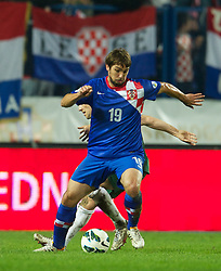 OSIJEK, CROATIA - Tuesday, October 16, 2012: Croatia's Niko Kranjcar in action against Wales during the Brazil 2014 FIFA World Cup Qualifying Group A match at the Stadion Gradski Vrt. (Pic by David Rawcliffe/Propaganda)