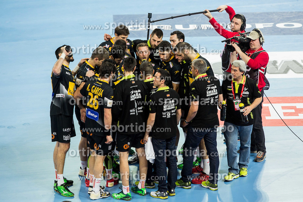 Players of Spain during handball match between National teams of Spain and Sweden on Day 6 in Preliminary Round of Men's EHF EURO 2016, on January 20, 2016 in Centennial Hall, Wroclaw, Poland. Photo by Vid Ponikvar / Sportida