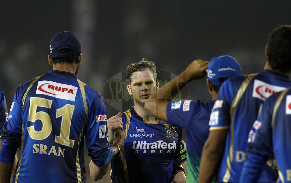 Rajasthan Royals captain Steven Smith shake hands after winning the match 9 of the Pepsi IPL 2015 (Indian Premier League) between The Rajasthan Royals and The Mumbai Indians held at the Sardar Patel Stadium in Ahmedabad , India on the 14th April 2015.<br /> <br /> Photo by:  Vipin Pawar / SPORTZPICS / IPL