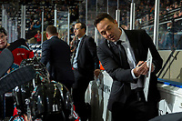 KELOWNA, BC - SEPTEMBER 28:  Kelowna Rockets assistant coach Vernon Fiddler goes over a play on the bench against the Everett Silvertips at Prospera Place on September 28, 2019 in Kelowna, Canada. (Photo by Marissa Baecker/Shoot the Breeze)