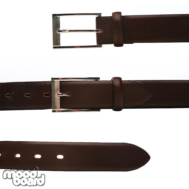 Elegant trousers belt on white background
