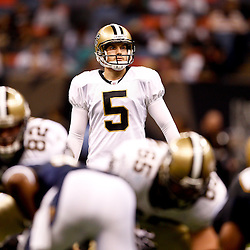 August 27, 2010; New Orleans, LA, USA; New Orleans Saints place kicker Garrett Hartley (5) lines up from a field goal during the second half of a preseason game at the Louisiana Superdome. The New Orleans Saints defeated the San Diego Chargers 36-21. Mandatory Credit: Derick E. Hingle