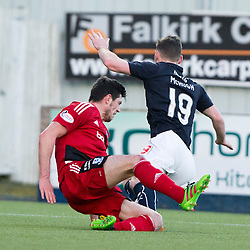 Ayr United's Scott McKenna brings down Falkirk's Bob McHugh for a penalty. Falkirk 1 v 1 Ayr United, Scottish Championship game played 14/1/2017at The Falkirk Stadium .