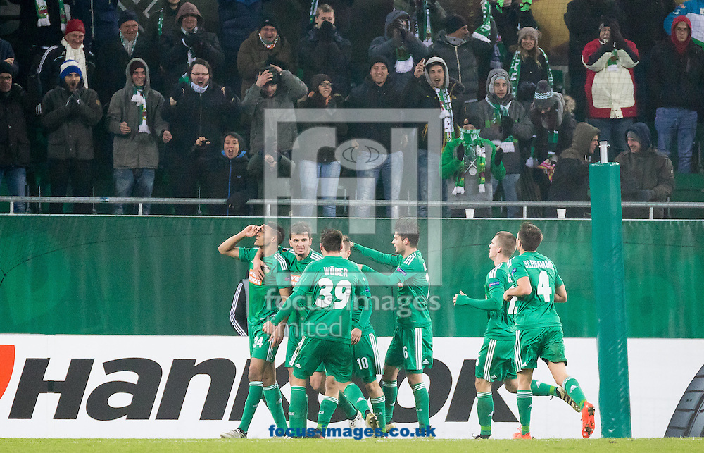 Joelinton of Rapid Vienna celebrates scoring their first goal during the UEFA Europa League match at Allianz Stadion, Vienna<br /> Picture by EXPA Pictures/Focus Images Ltd 07814482222<br /> 08/12/2016<br /> *** UK &amp; IRELAND ONLY ***<br /> <br /> EXPA-PUC-161208-0225.jpg