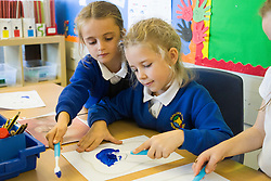 Hunloke Park Primary School Pupils Olivia and Holly take art in the Oasis  oral hygiene session on Tuesday 20 October 2015<br />  Image © Paul David Drabble <br />  www.pau ldaviddrabble.co.uk