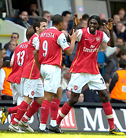 Photo: Ed Godden/Sportsbeat Images.<br /> Tottenham Hotspur v Arsenal. The Barclays Premiership. 21/04/2007. Arsenal's Emmanuel Adebayor (R), celebrates his goal.