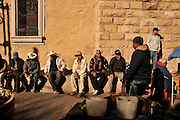 Men visit at a plaza in Nogales, Sonora, Mexico, across the border from Nogales, Arizona, USA.