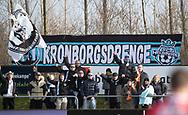 FODBOLD: FC Helsingør-fans før kampen i NordicBet Ligaen mellem Thisted FC og FC Helsingør den 3. marts 2019 på Sparekassen Thy Arena i Thisted. Foto: Claus Birch