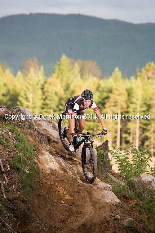 Pro mountain bike racer Harriet Beaven, of Auckland, explores a section of trail on the nationals track in the Whakarewarewa Forest, Rotorua, New Zealand.