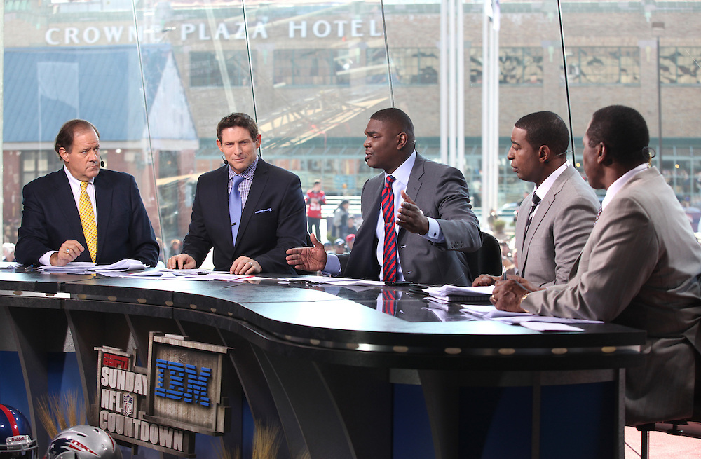 Keyshawn Johnson speaks on Sunday NFL Countdown in Indianapolis, Ind. Sunday February 5, 2012. .Photo by Chris Bergin