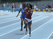 Anglerne Annelus aka Angie Annelus of Southern California places second in the women's 100m in 1.43 during a collegiate dual meet against UCLA at Drake Stadium in Los Angeles, Sunday, April 29, 2018.