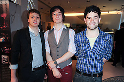 The Holloways - Left to right, Bryn Fowler, David 'Alfie' Jackson, Edwin Harris at the Recognise magaine launch party at the exclusive Swarovski Crystallized Lounge, 24 Great Marlborough Street, London on 13th April 2010.